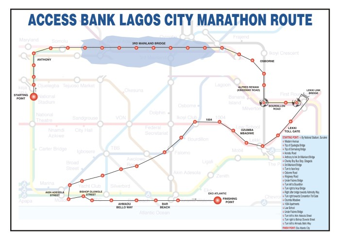 Access Bank Lagos City Marathon Route
