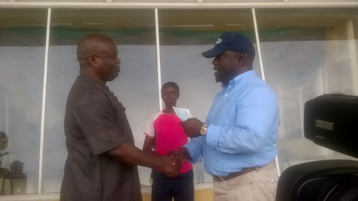 Hon.Bukola Olopade who is the Project Consultant for the Lagos City Marathon in company of the Athletics Federation of Nigeria President, Solomon Ogba